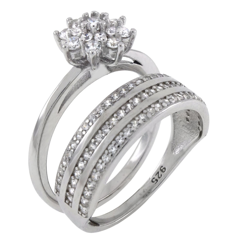 Sterling Silver Cubic Zirconia Stacked Wedding Rings