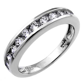 Sterling Silver Round CZ Band Ring