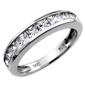 Sterling Silver Princess CZ Band Ring