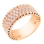925 Silver Pave Setting Rose Gold Three Lines CZ Ring