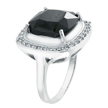Sterling Silver 10*14 mm Black CZ Cocktail Ring