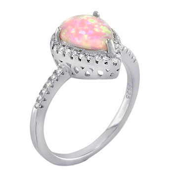 Sterling Silver Cubic Zirconia Lab Pink Opal Ring