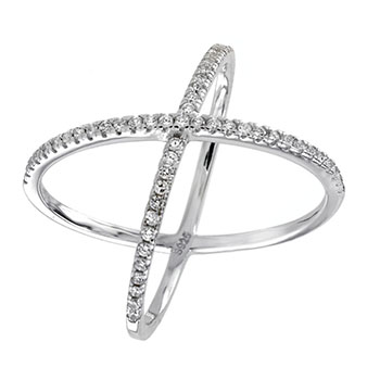 Sterling Silver Round CZ Cross Ring