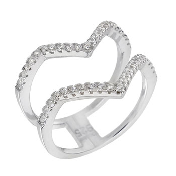 Sterling Silver Double V Shape CZ Ring