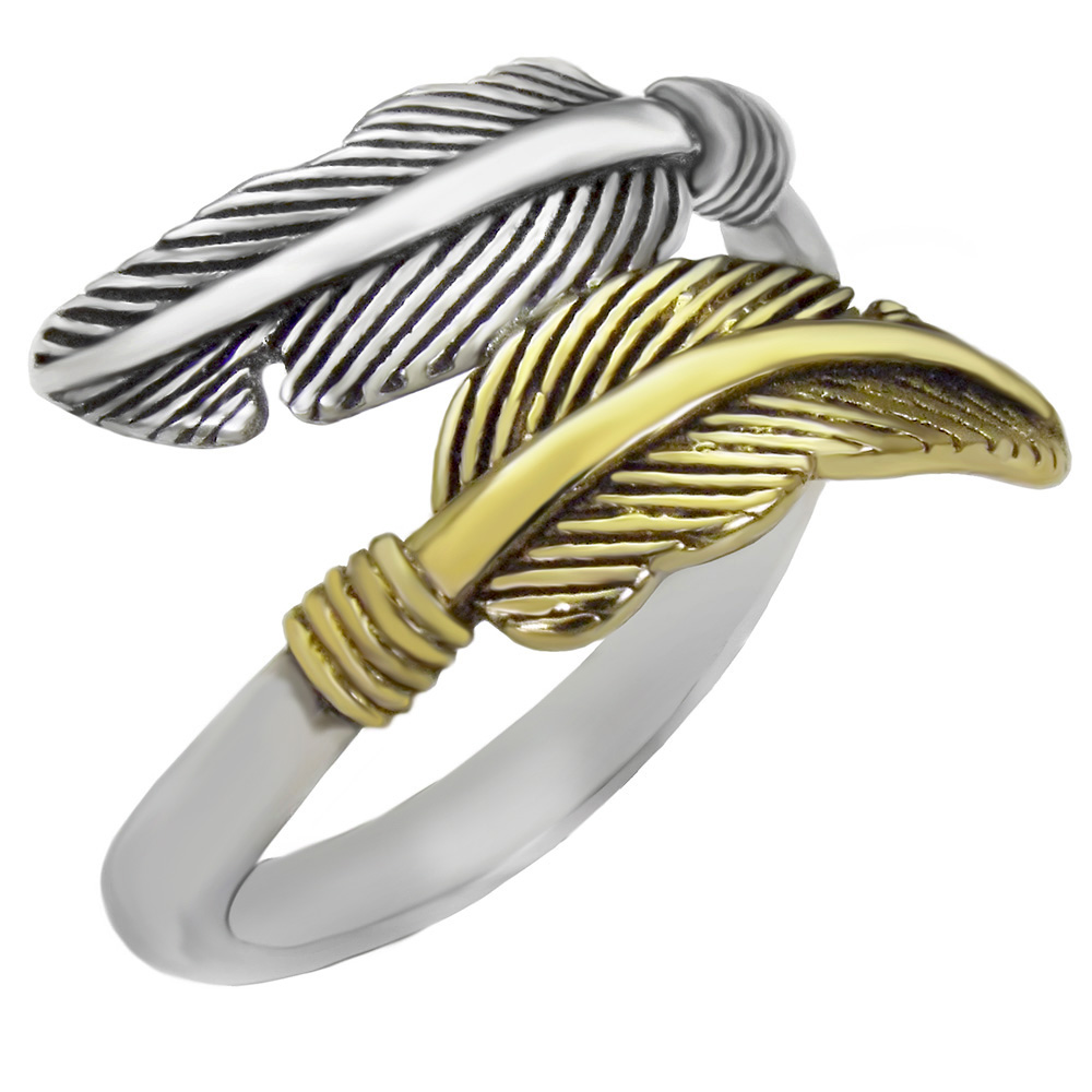 Sterling Silver Oxidized+ Gold Plated Feather Ring