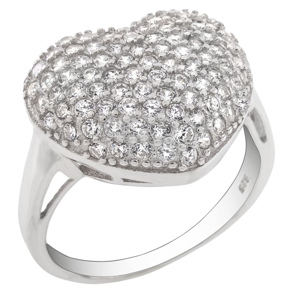 Sterling Silver Pave Cubic Zirconia Heart Ring