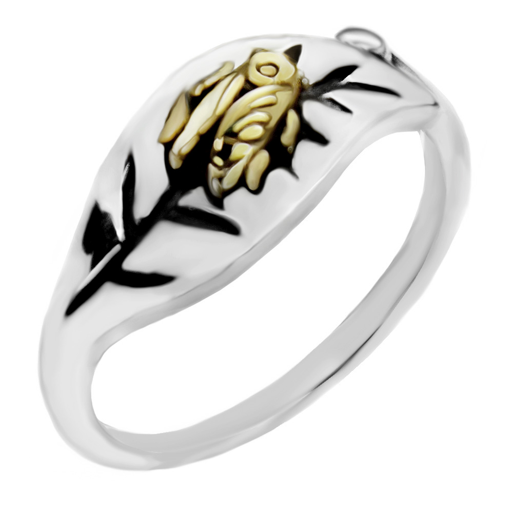 Sterling Silver Gold Plated Bee on Leaf  Ring