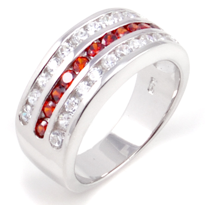 925 Silver Clear & Ruby  CZ Man Ring