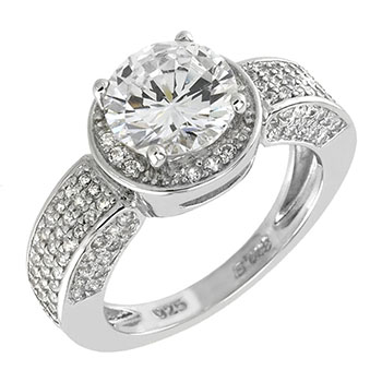Sterling Silver Pave Cubic Zirconia  Promise Ring