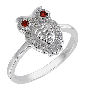 Sterling Silver Cubic Zirconia Owl W. Red Eyes Ring