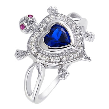Sterling Silver Red Eyes Blue Heart Turtle CZ Ring