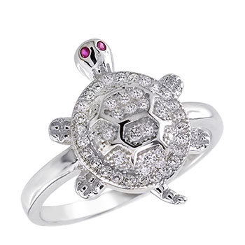 Sterling Silver Cubic Zirconia Pave Setting Red Eyes Turtle Ring