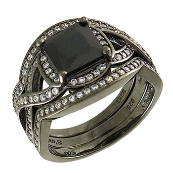 Sterling Silver Black Rhodium Pave CZ Wedding Rings Set