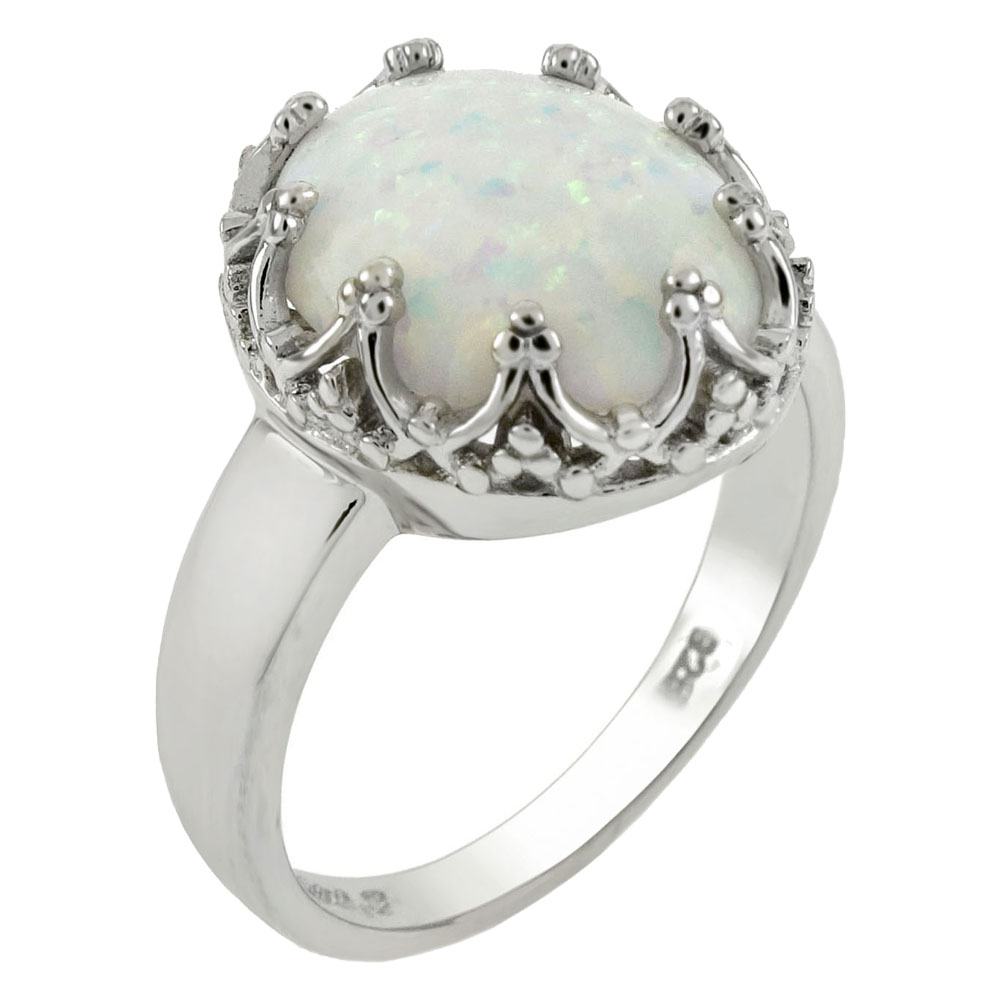 Sterling Silver 10x12mm Lab Created White Opal Ring