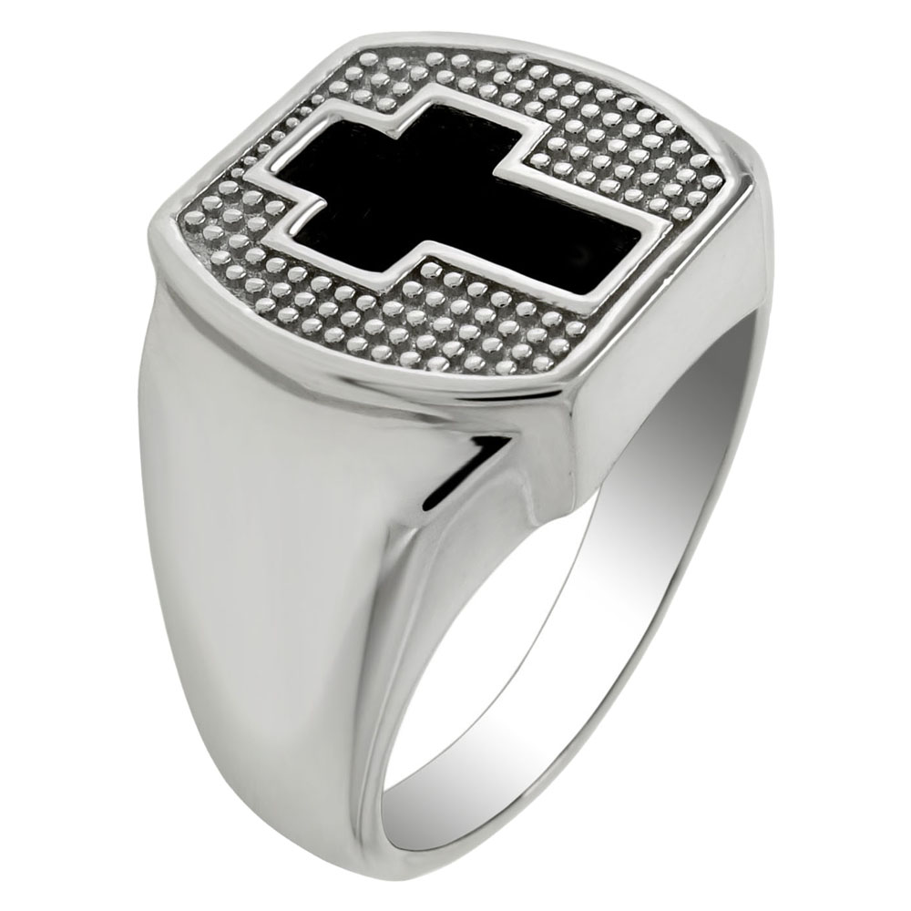 Sterling Silver Black Onyx Cross Ring