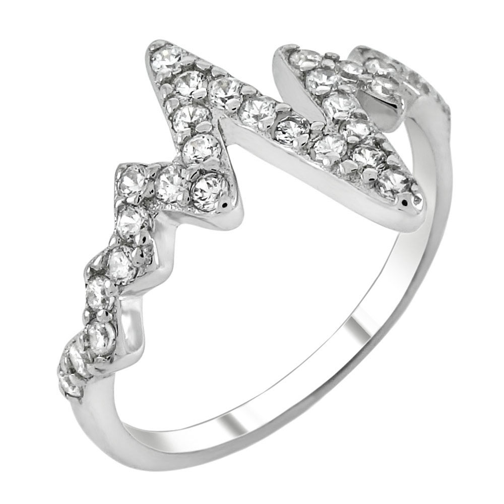Sterling Silver Cubic Zirconia Heartbeat Ring