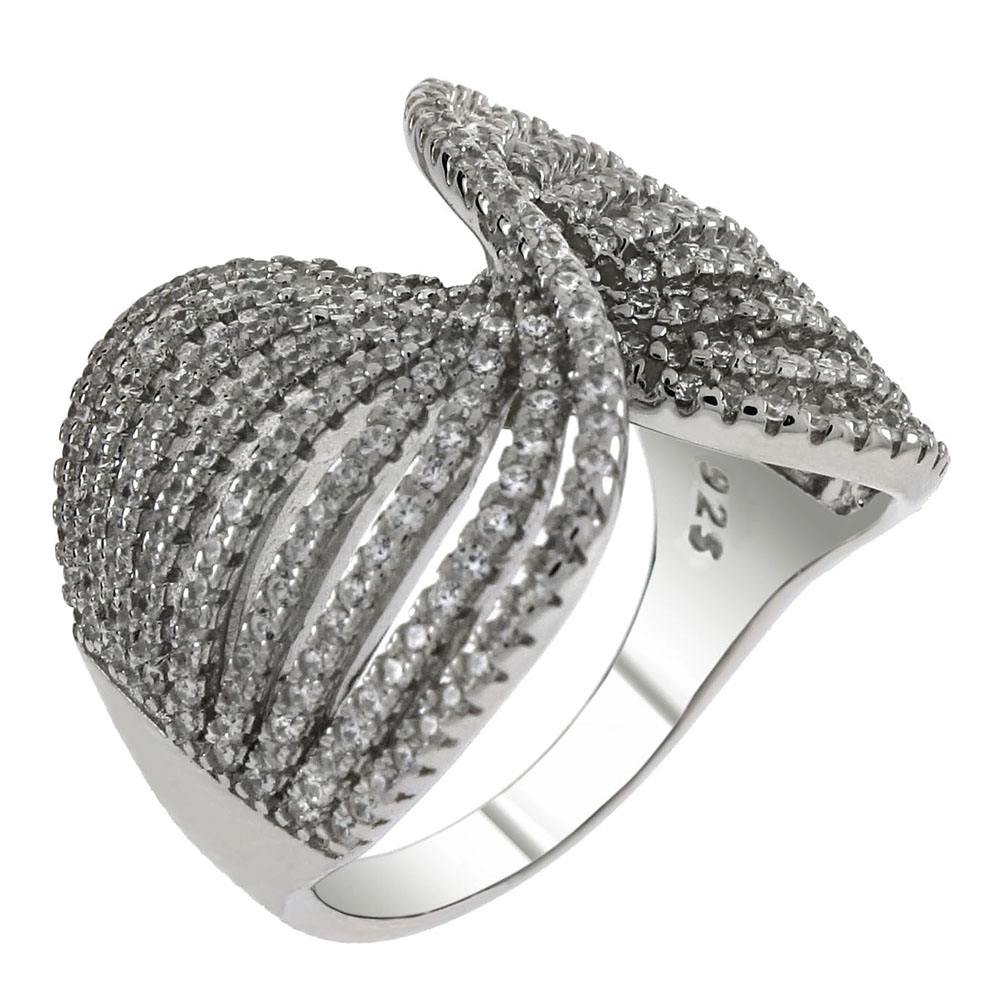 Sterling Silver Twisted CZ lines Ring