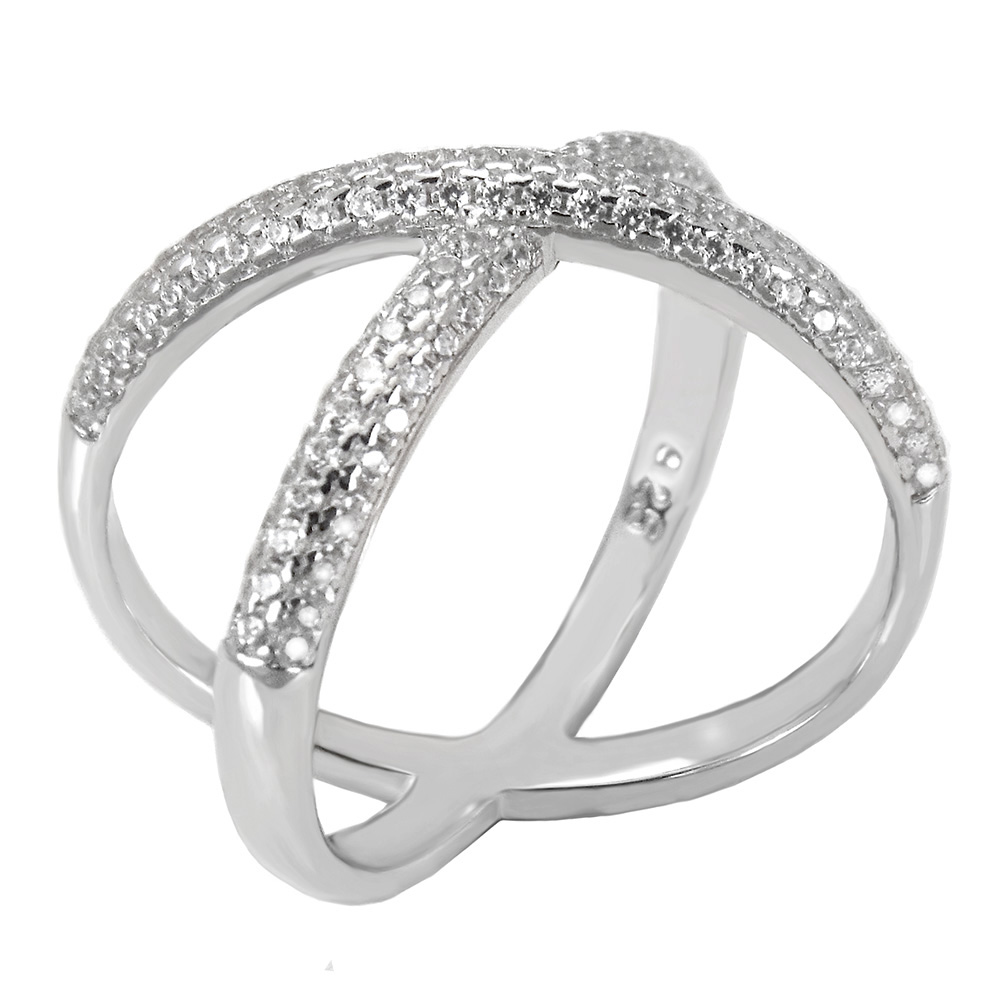 Sterling Silver Pave 3 Lines Dome CZ Criss Cross Ring