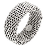Sterling Silver Rhodium Mesh Ring