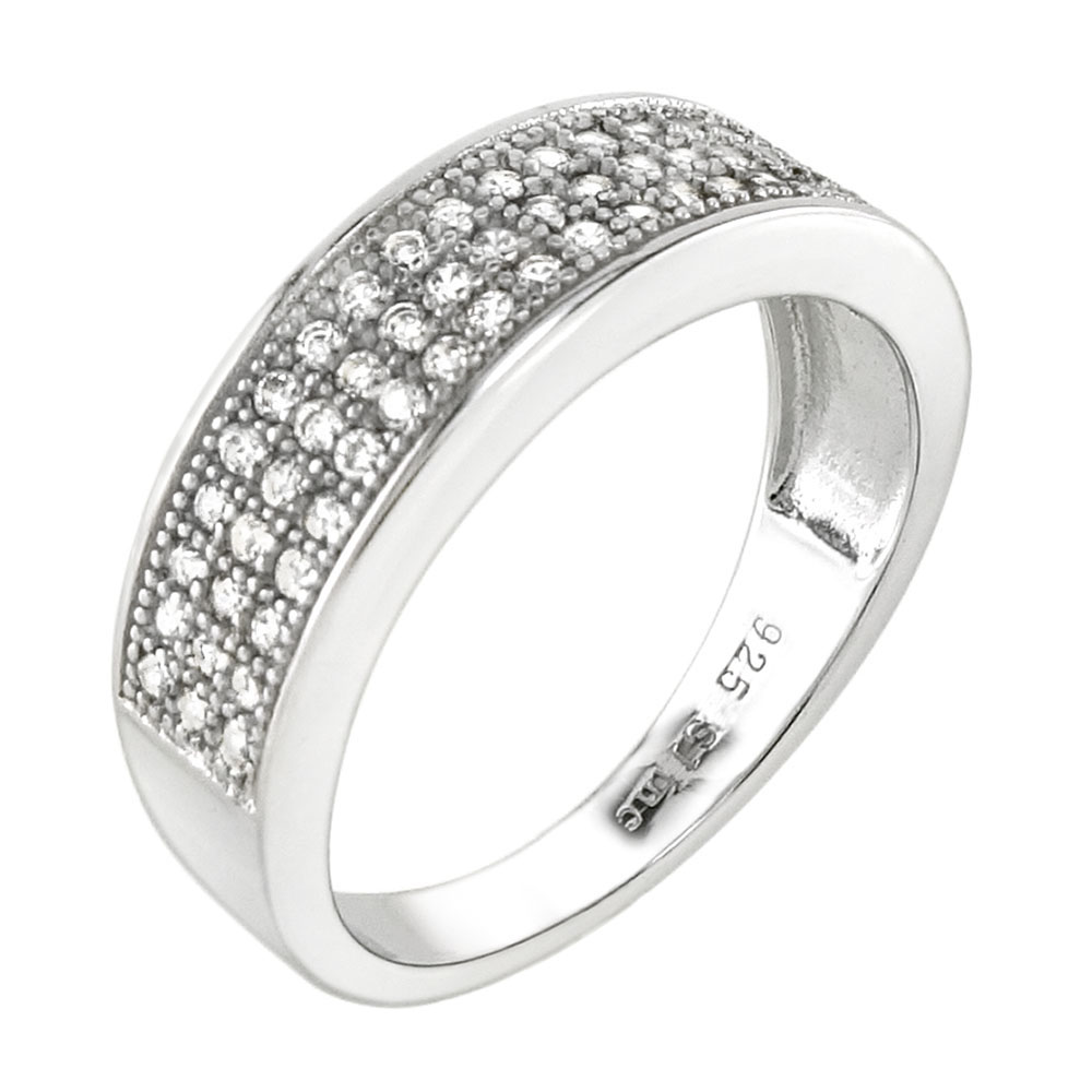 Sterling Silver Three Lines Pave CZ Ring