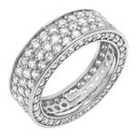 Sterling Silver Three Lines Pave Eternity CZ Ring