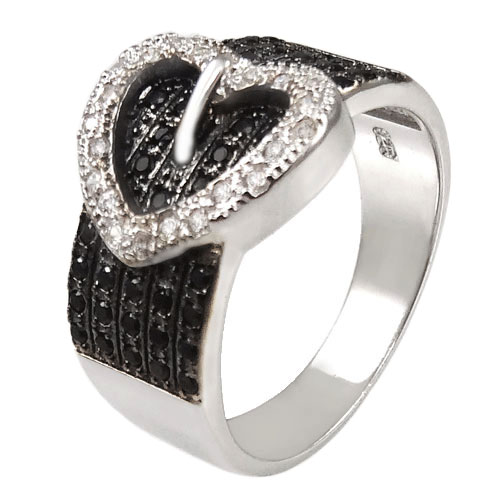 Sterling Silver Heart Belt Buckle Black & White CZ Ring