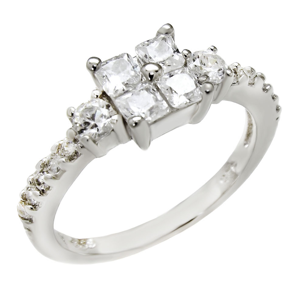 Sterling Silver Bezel Round Cubic Zirconia Band Ring