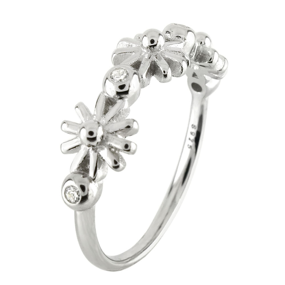 Sterling Silver Snowflake W. Small CZ Ring