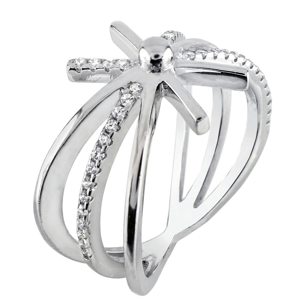 Sterling Silver SnowFlake Cubic Zirconia Ring