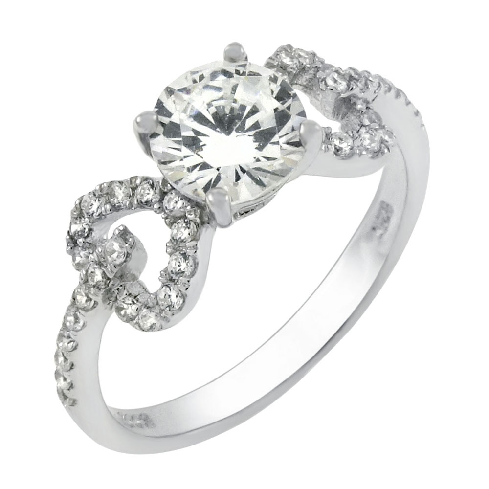 Sterling Silver Round 6mm Cubic Zirconia Engagement Ring