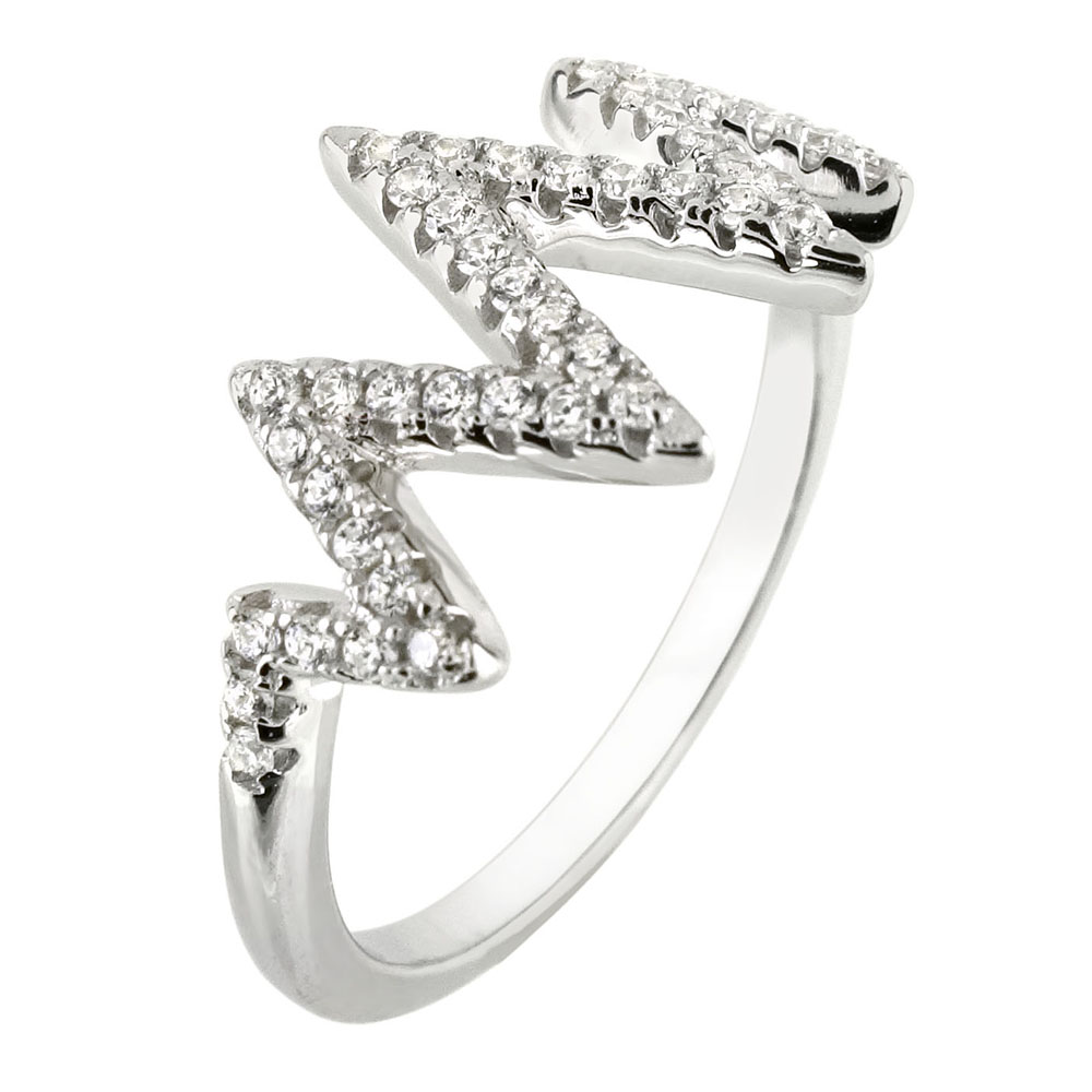 Sterling Silver Cubic Zirconia Zig Zag Ring