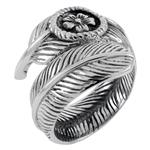 Sterling Silver Flower On Feather Adjustable Oxidized Ring