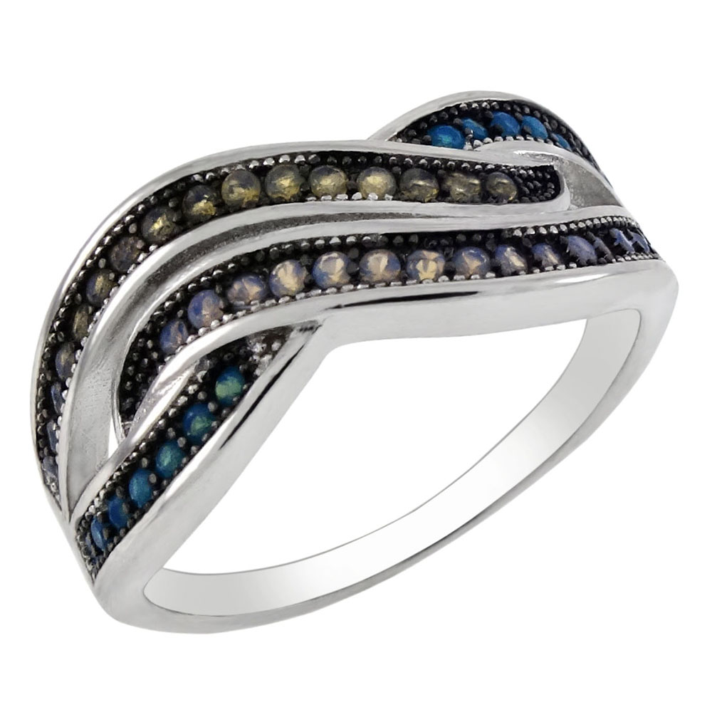 Sterling Silver Blue/Yellow Nano Stone W. White & Black Rhodium Ring