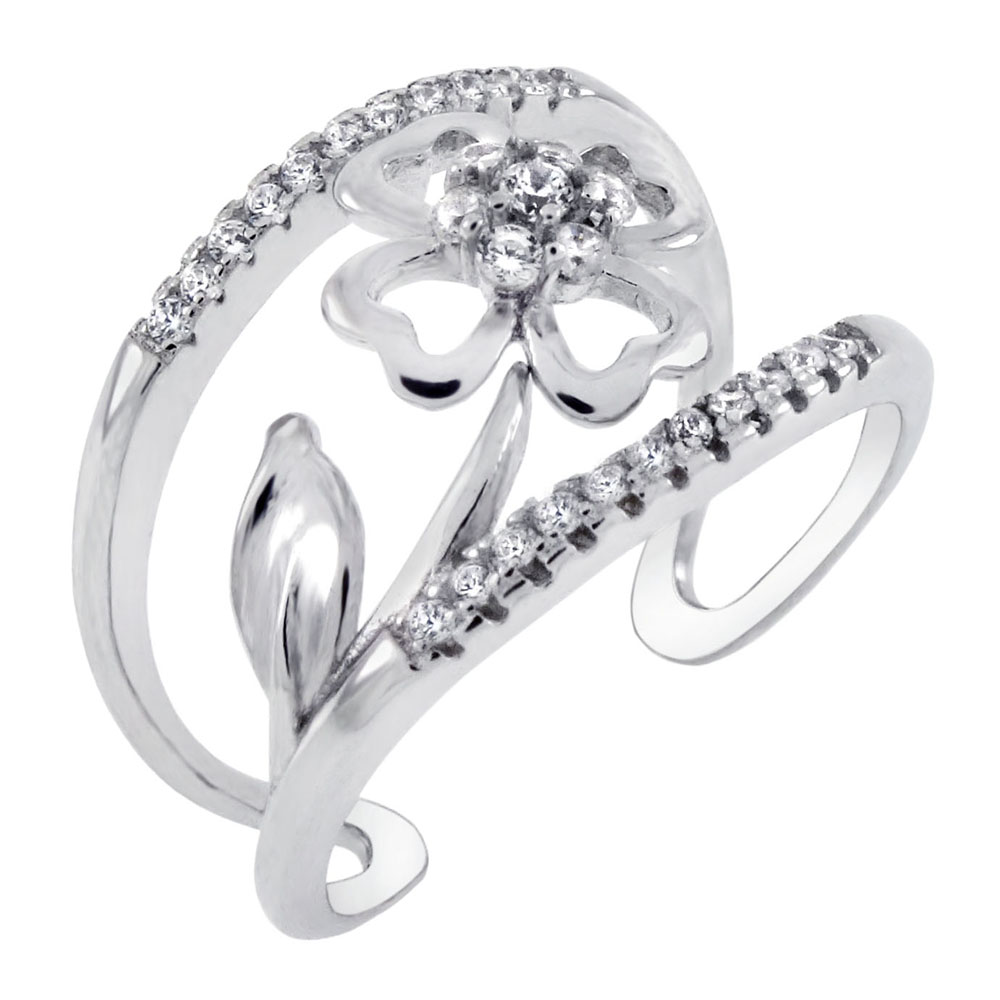 Sterling Silver Cubic Zirconia Four Leaf Clover Adjustable Ring