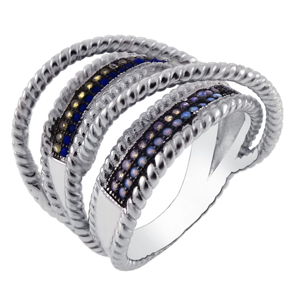 Sterling Silver Multi Color Stone White & Black Rhodium Ring