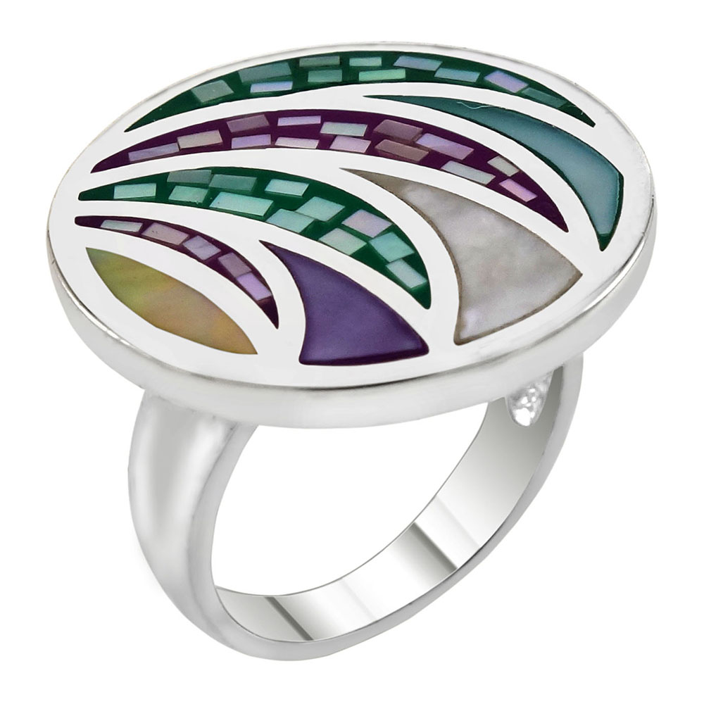 Sterling Silver Mosaic Mother of Pearl Round Ring