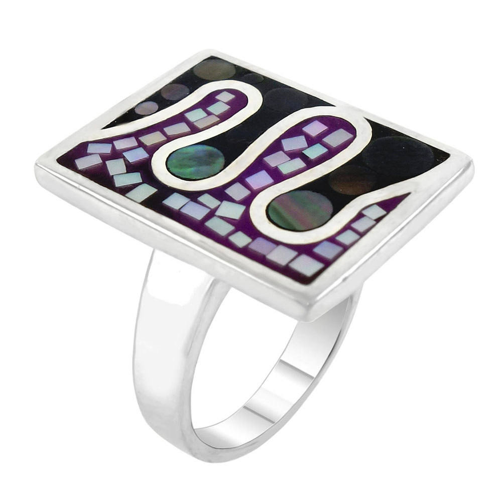 Sterling Silver Mosaic Mother of Pearl Rectangle Ring