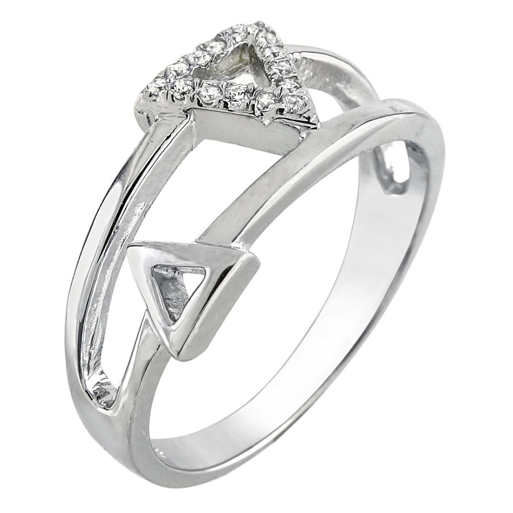 Sterling Silver Double Triangle CZ Ring