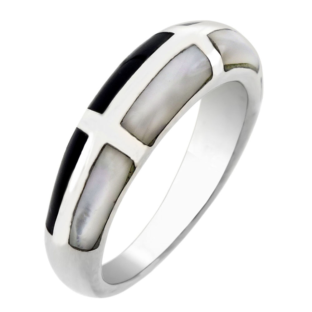 Sterling Silver MOP & Black Onyx Band Ring