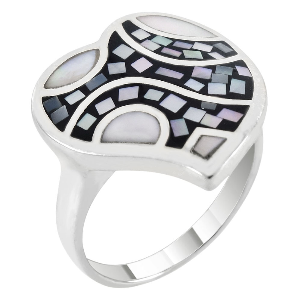 Sterling Silver Mosaic MOP Heart Ring