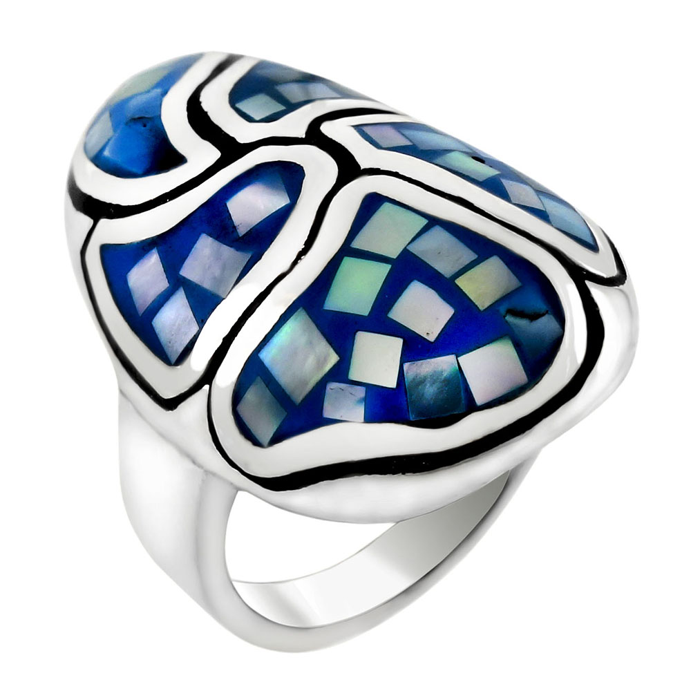 Sterling Silver Blue Mosaic MOP Oval Dome Ring