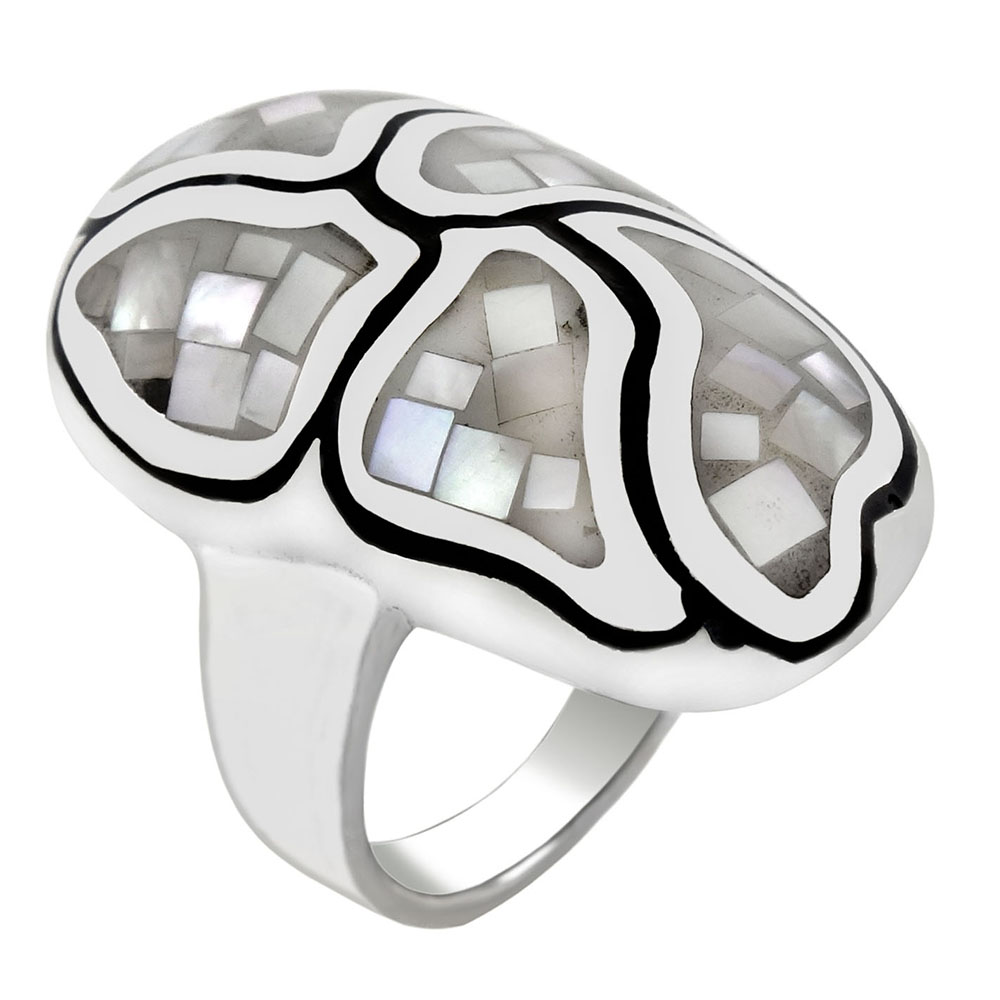Sterling Silver Mosaic Mother of Pearl Oval Dome Ring