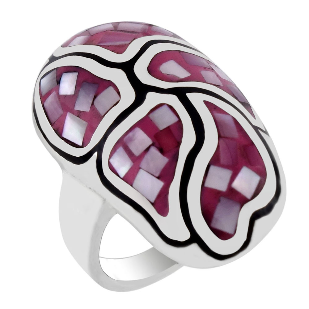 Sterling Silver Pink Mosaic MOP Oval Dome Ring
