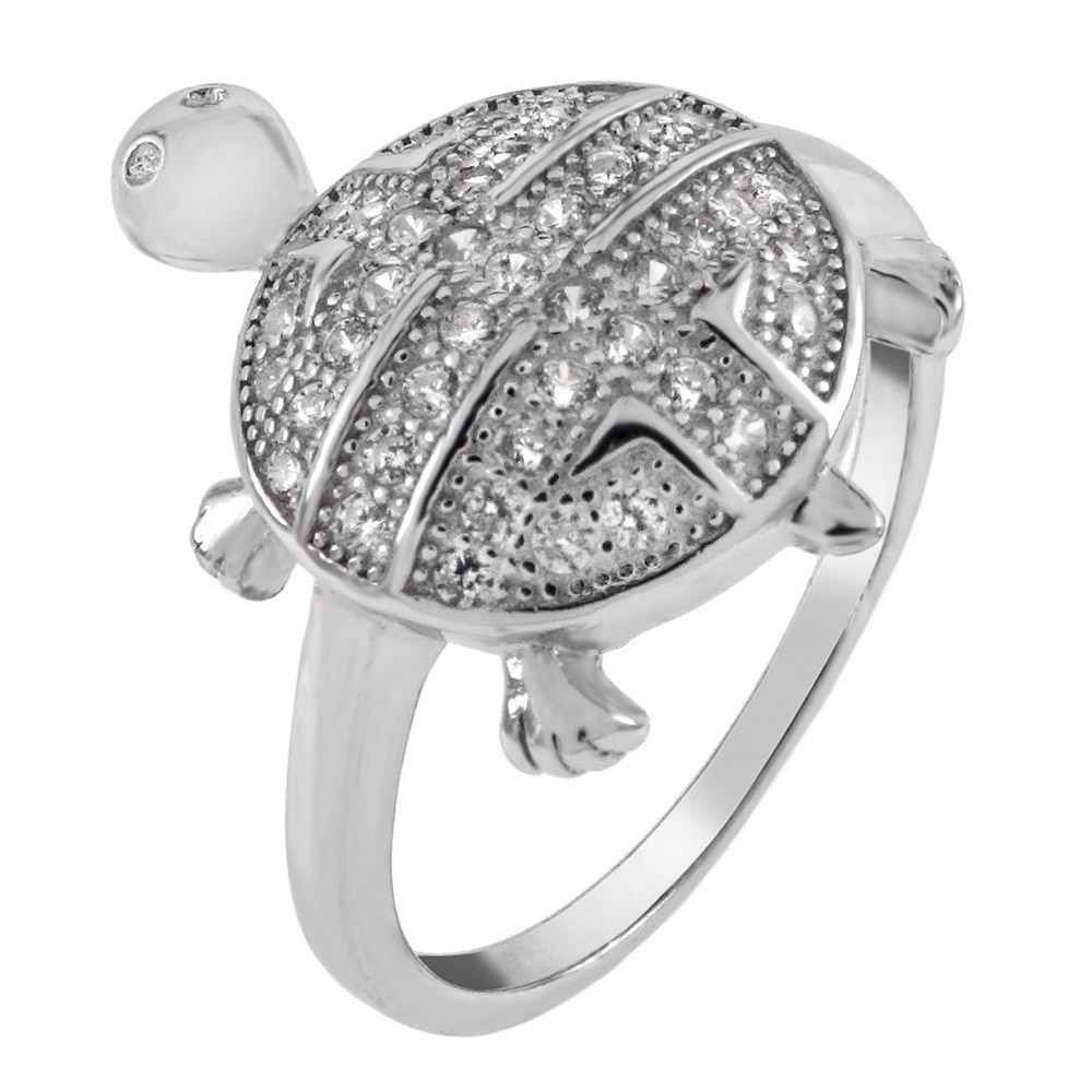 Sterling Silver Pave Cubic Zirconia Turtle Ring