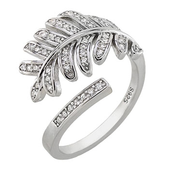 Sterling Silver Palm-Leaf CZ Ring