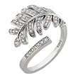 Sterling Silver Leaf CZ Adjustable Ring