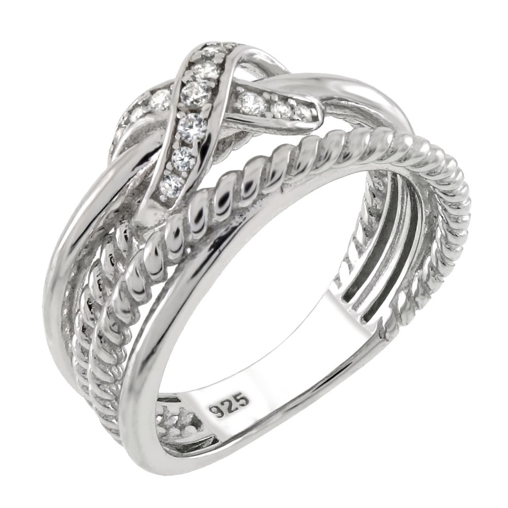 Sterling Silver CZ Infinity Wrapped Ring