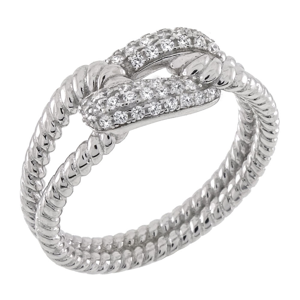 Sterling Silver Double Twist Band Pave CZ Knot Ring