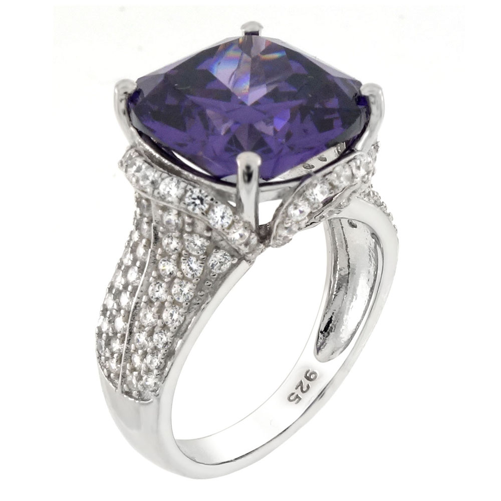 Sterling Silver 12mm Cushion Cut Amethyst CZ Cocktail Ring