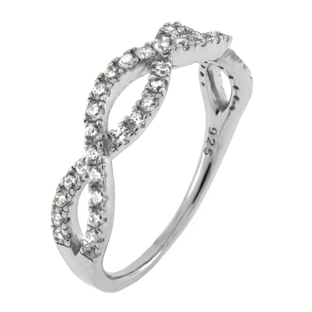 Sterling Silver Crisscross Braided Cubic Zirconia Ring